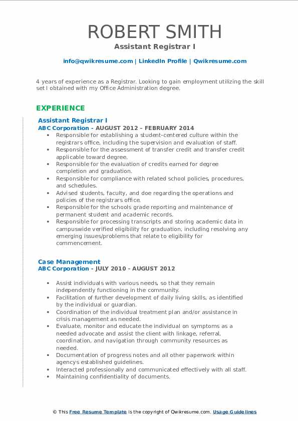 Assistant Registrar I Resume Sample