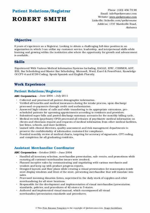 Patient Relations/Registrar Resume Sample
