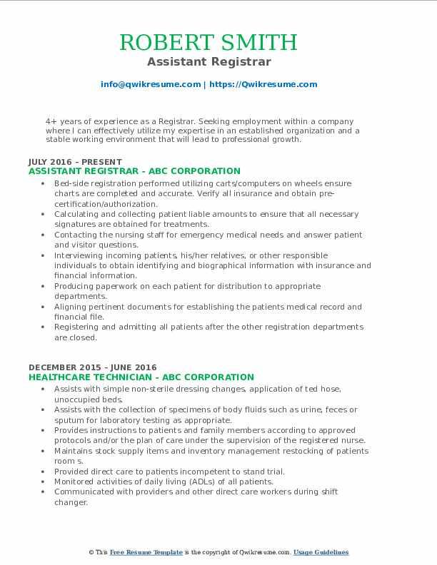 Assistant Registrar Resume Template