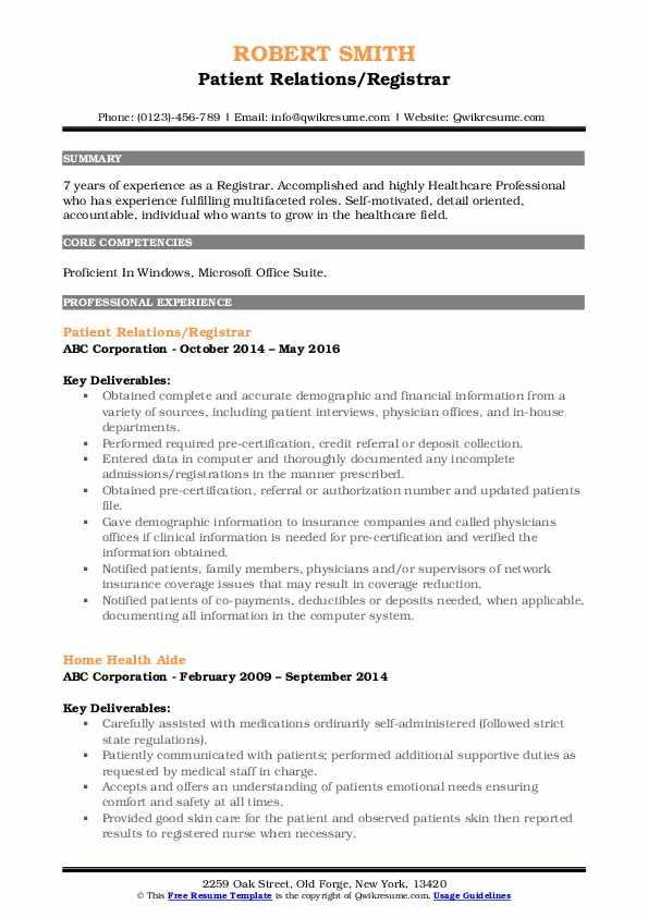 Patient Relations/Registrar Resume Model