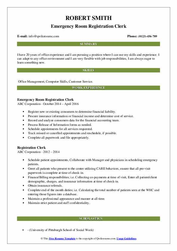 Registration Clerk Resume Samples | QwikResume