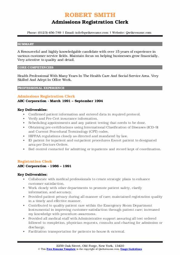 Admissions Registration Clerk Resume Example
