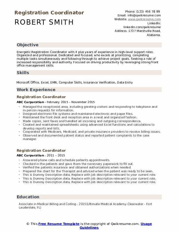 Registration Coordinator Resume example