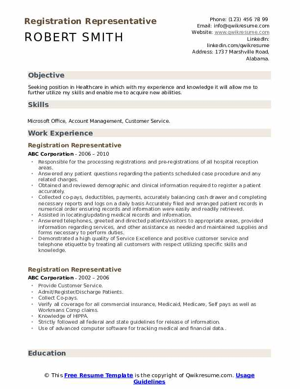 Registration Representative Resume Format
