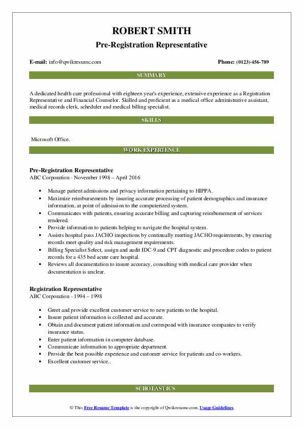 Pre-Registration Representative Resume Sample