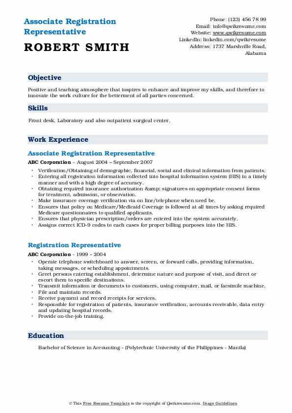 Associate Registration Representative Resume Model