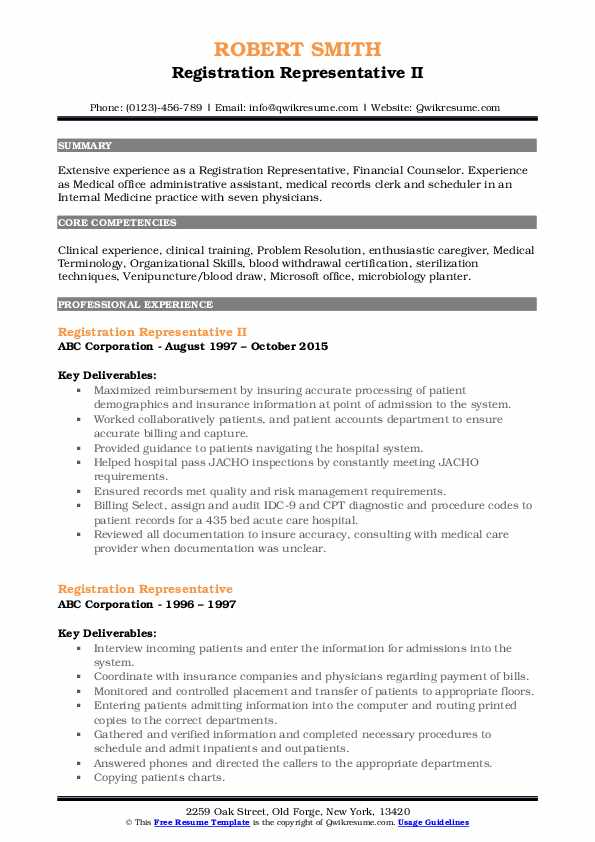 Registration Representative II Resume Example