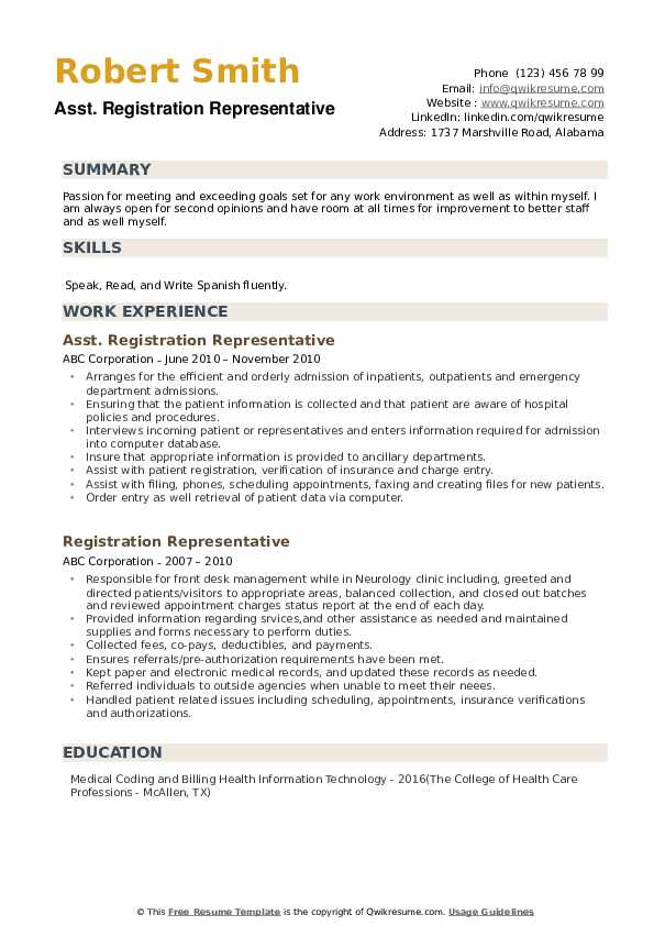 Asst. Registration Representative Resume Model
