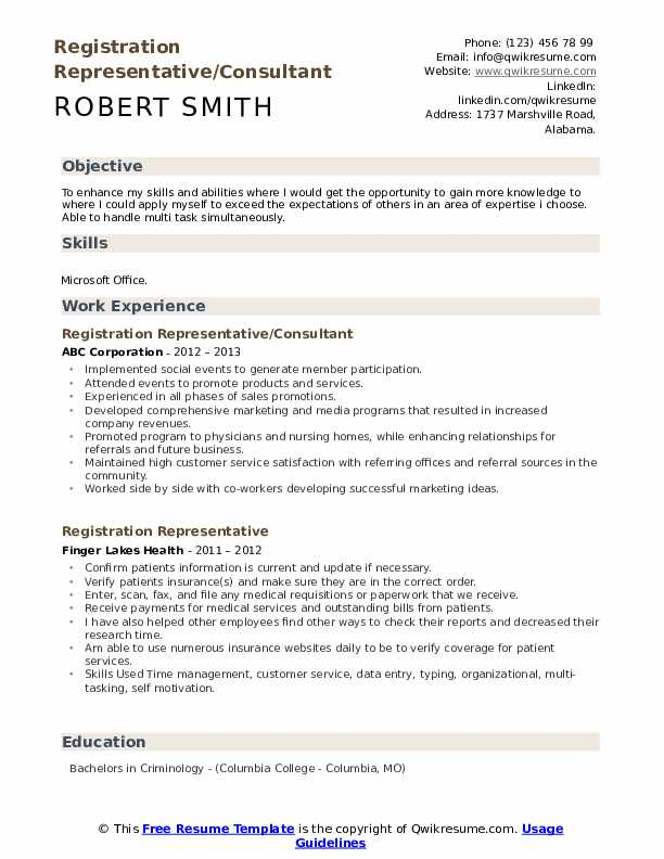 Registration Representative/Consultant Resume Sample