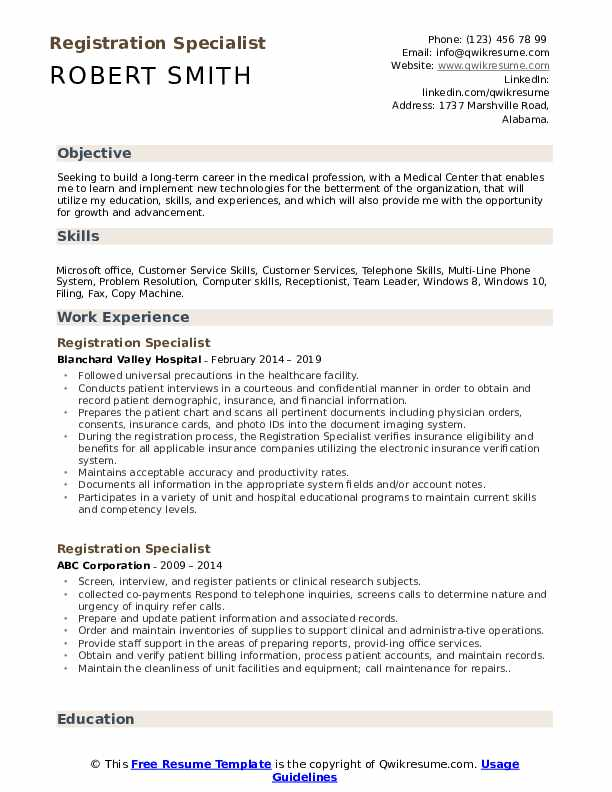 Registration Specialist Resume Format