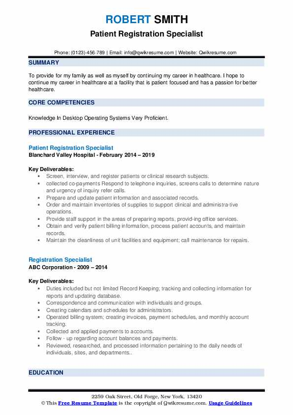 Patient Registration Specialist Resume Template