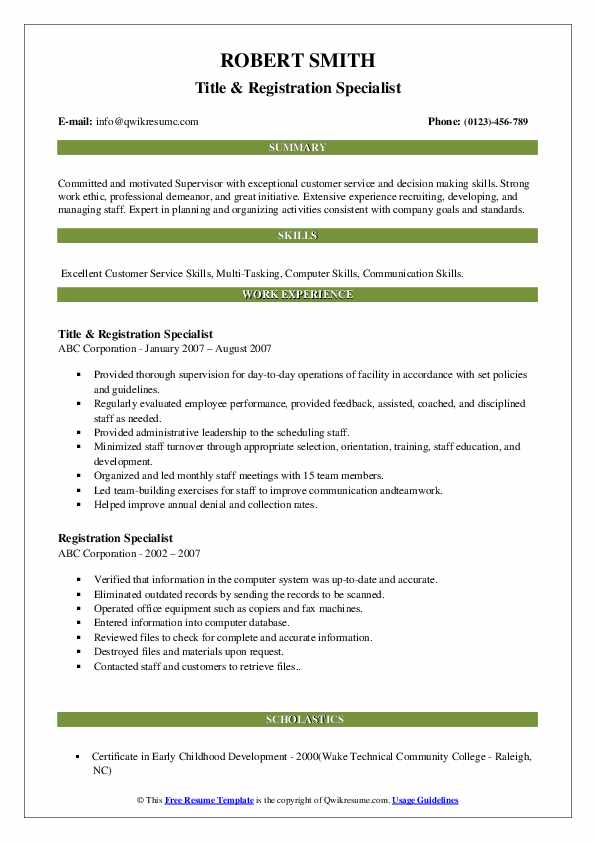 Title & Registration Specialist Resume Sample