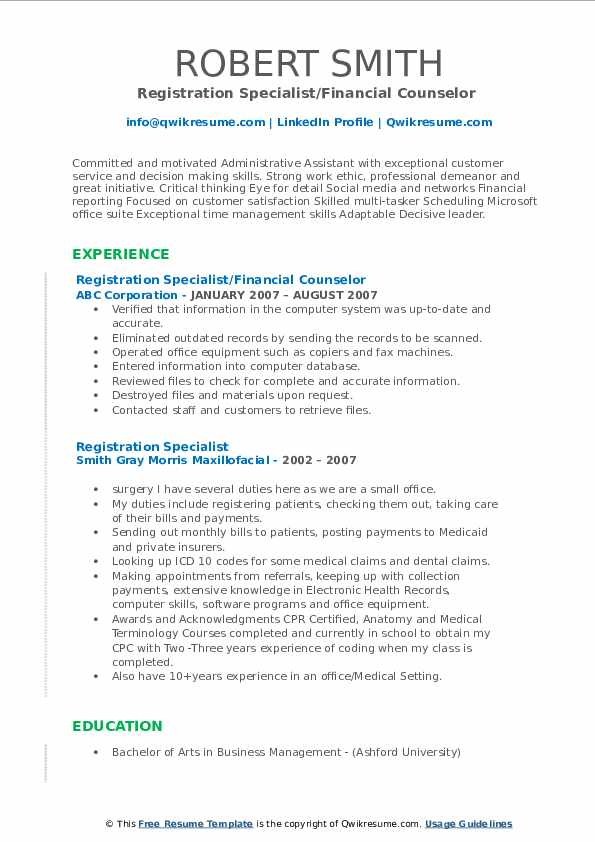 Registration Specialist/Financial Counselor  Resume Template