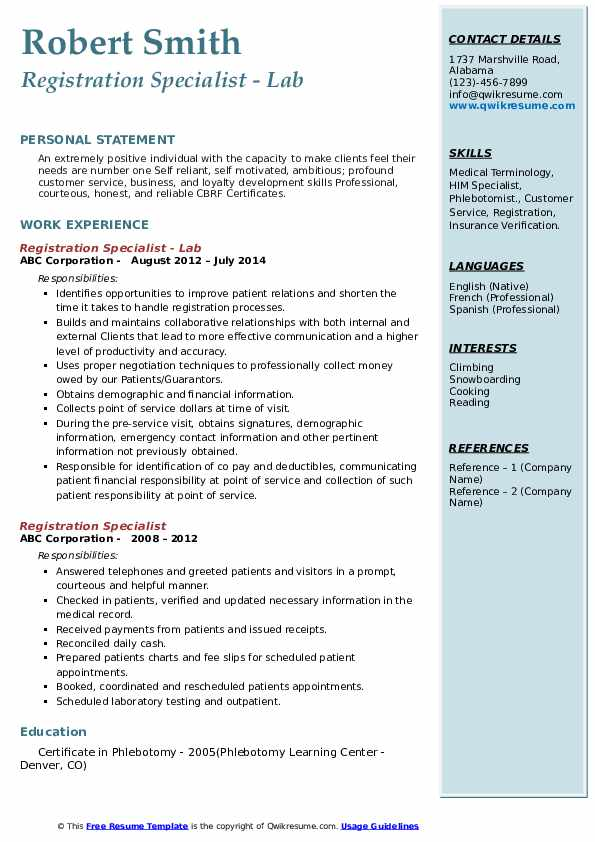 Registration Specialist - Lab Resume Template