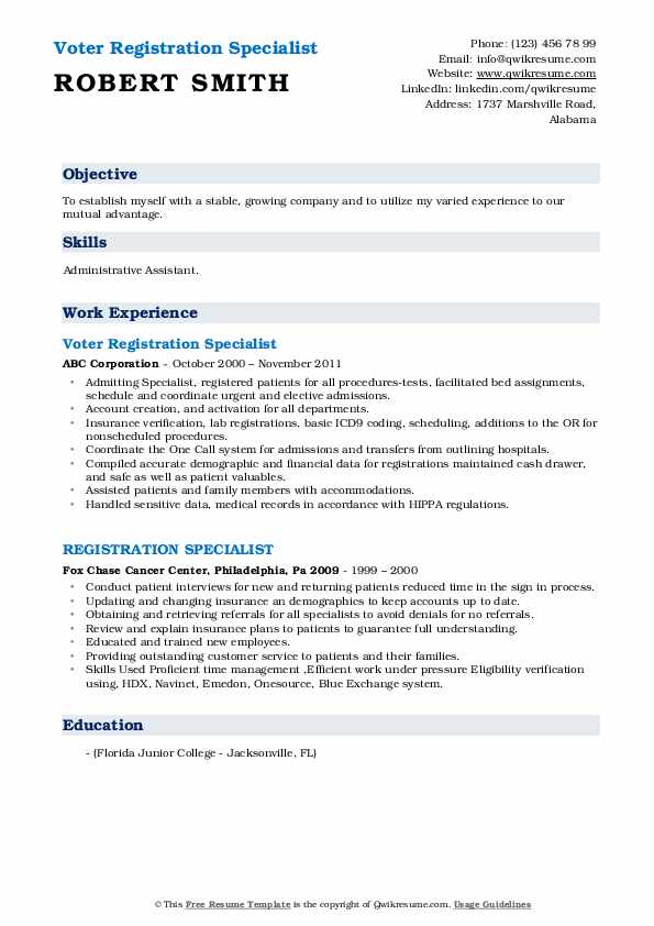 Voter Registration Specialist Resume Example