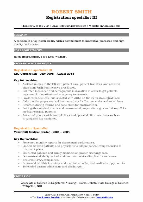 Registration specialist III Resume Template