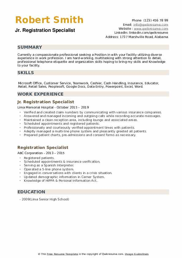 Jr. Registration Specialist Resume Model
