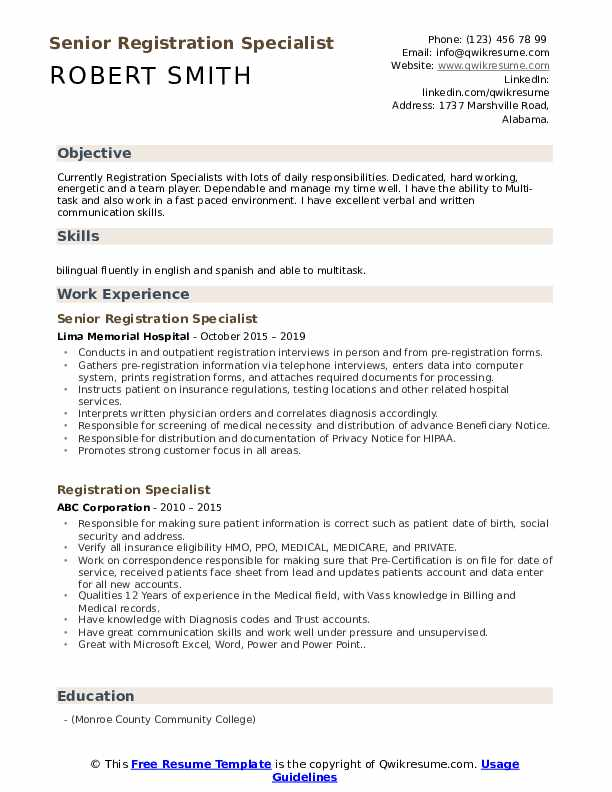 Senior Registration Specialist Resume Sample