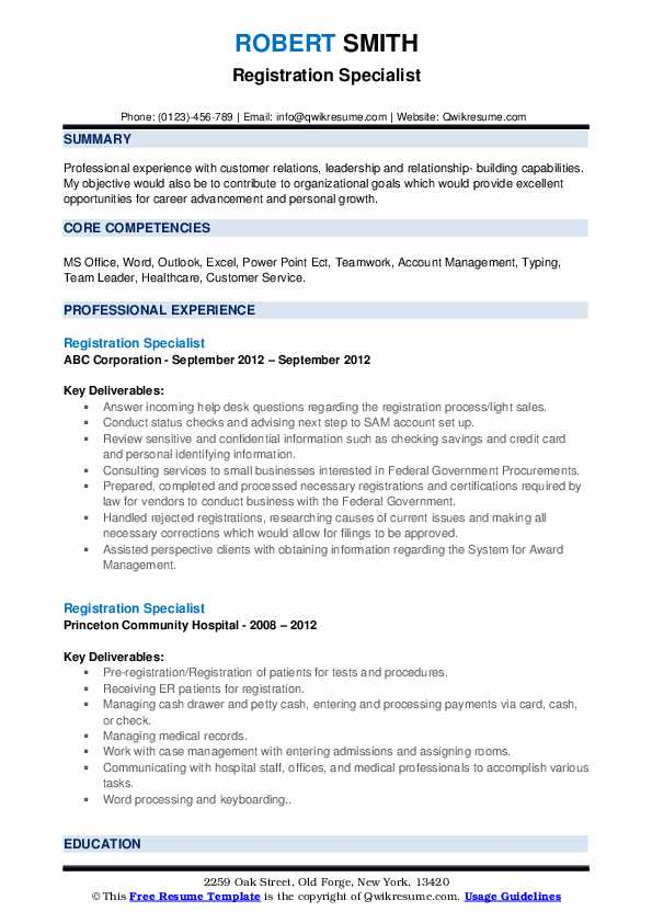 Registration Specialist Resume example
