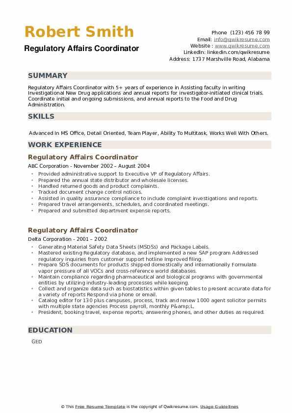 Regulatory Affairs Coordinator Resume example