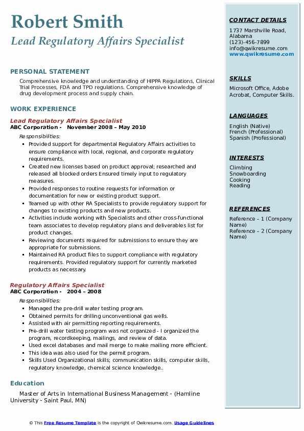 regulatory affairs specialist resume samples  qwikresume