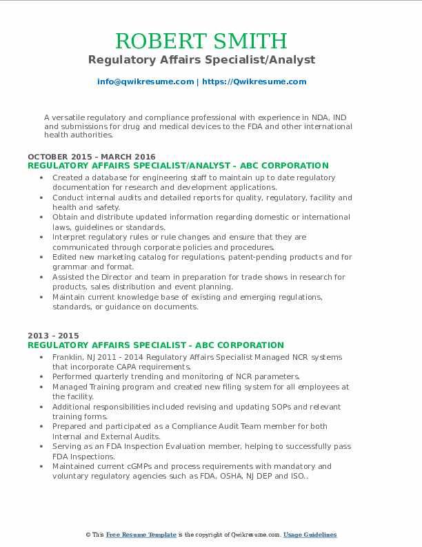 regulatory technician resume july 2020