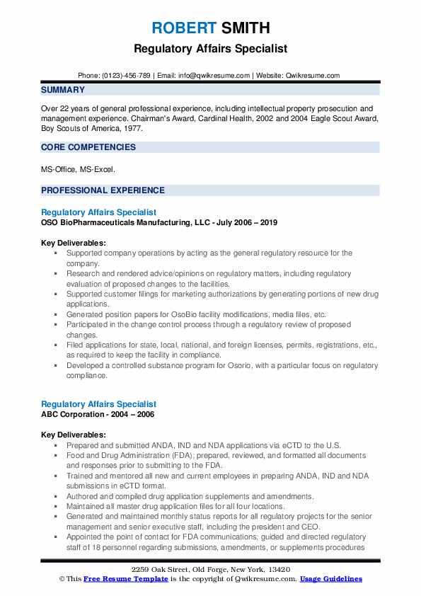 Regulatory Affairs Specialist Resume example