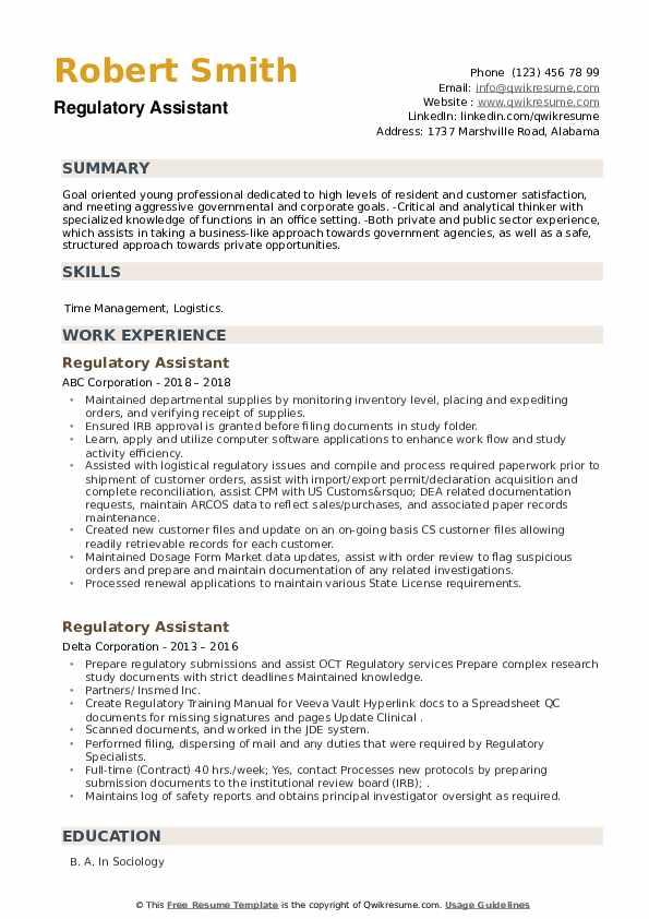 Regulatory Assistant Resume example