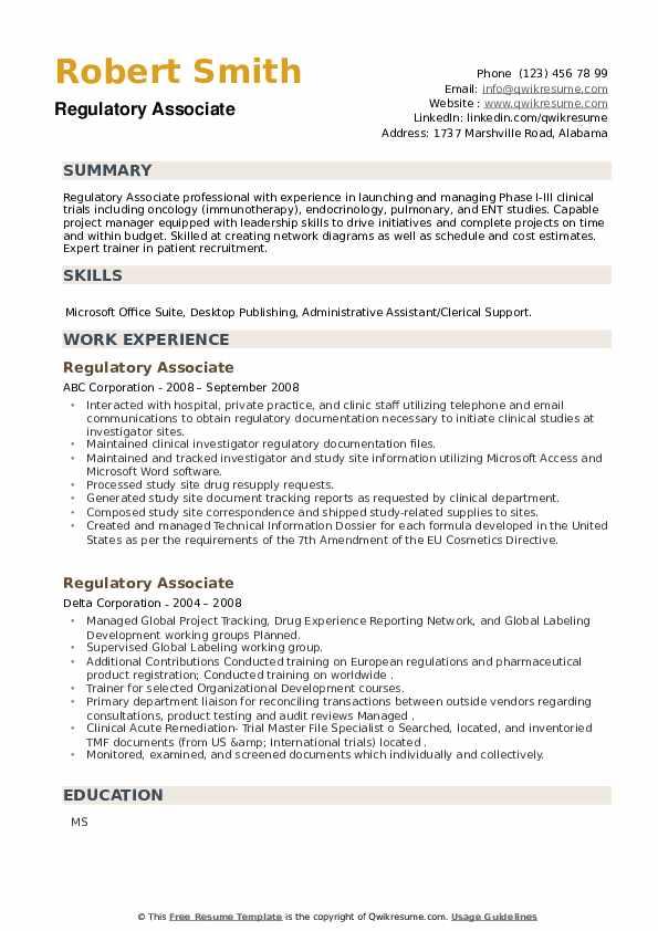 Regulatory Associate Resume example