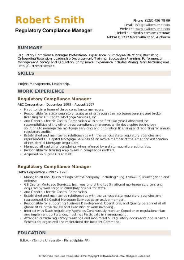 Regulatory Compliance Manager Resume example