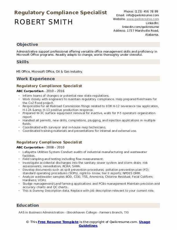 Regulatory Compliance Specialist Resume example