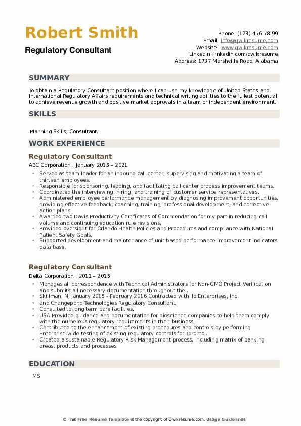 Regulatory Consultant Resume example
