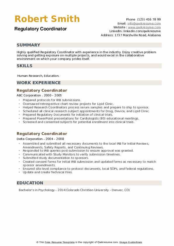 Regulatory Coordinator Resume example