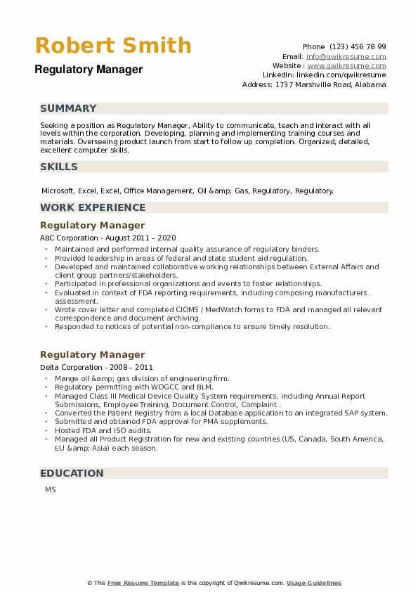 Regulatory Manager Resume example