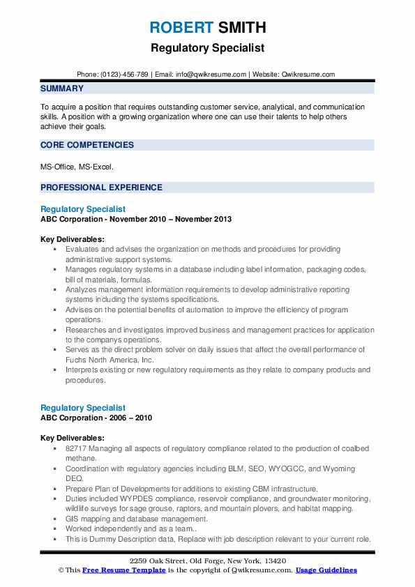 Regulatory Specialist Resume example