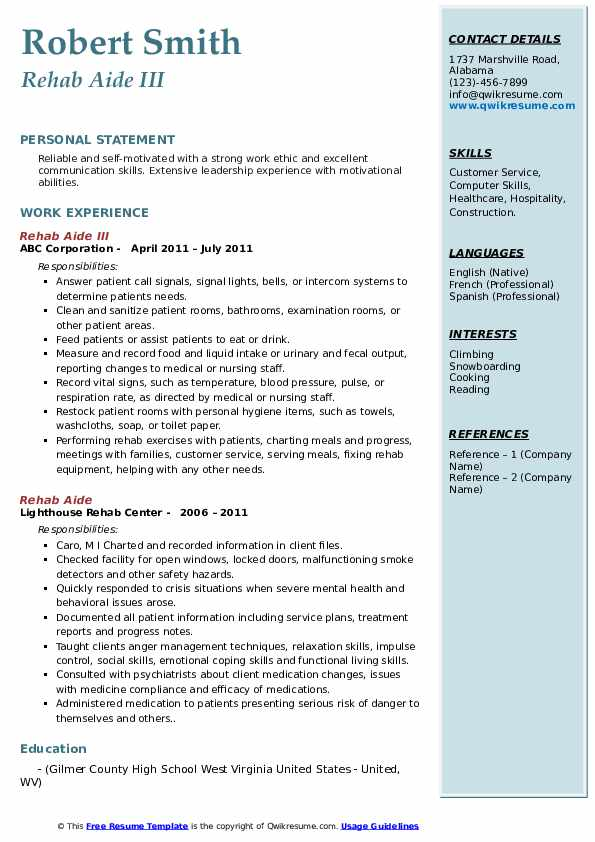 Rehab Aide Resume Samples Qwikresume