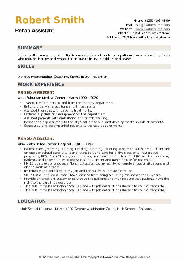 Rehab Assistant Resume example