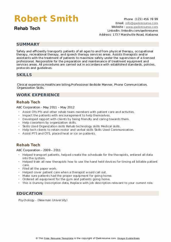 Rehab Tech Resume example