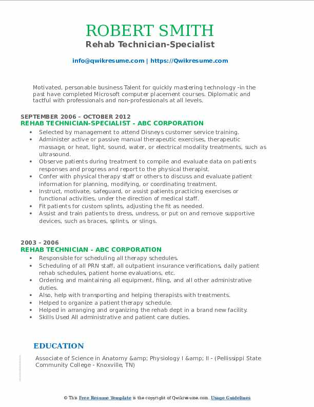 Rehab Technician-Specialist Resume Template