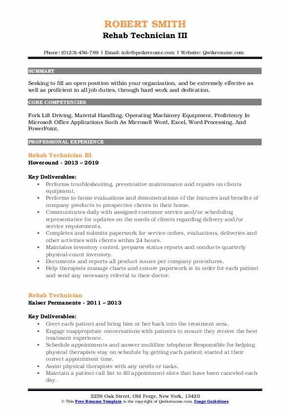 Rehab Technician Resume Samples | QwikResume