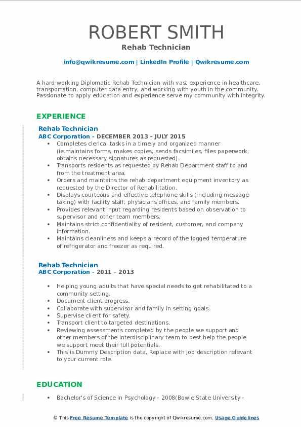 Rehab Technician Resume example