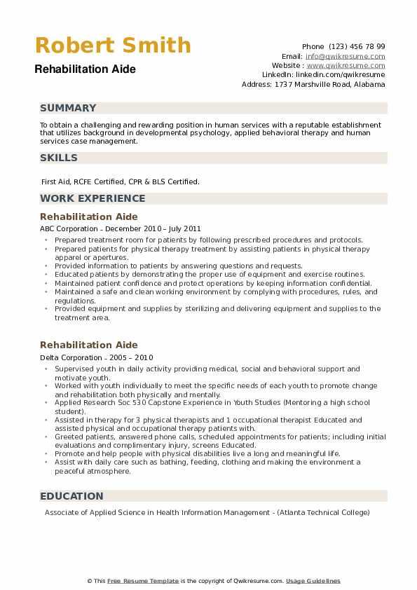 Rehabilitation Aide Resume example