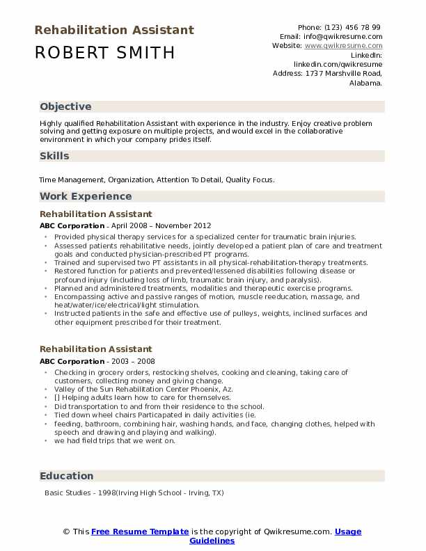 Rehabilitation Assistant Resume Example