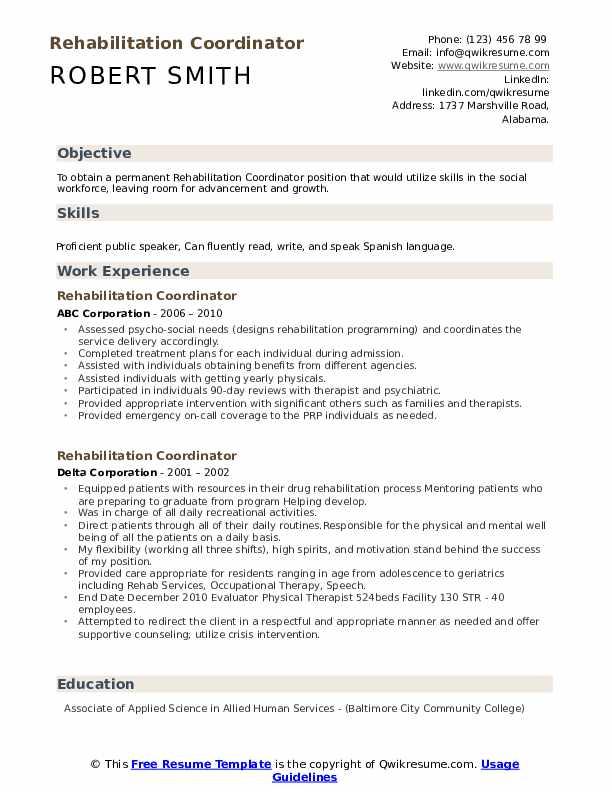 Rehabilitation Coordinator Resume Samples Qwikresume