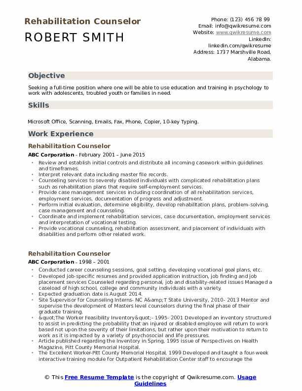 Rehabilitation Counselor Resume Model
