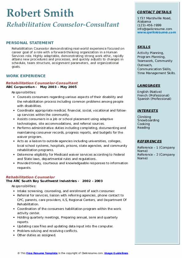 Rehabilitation Counselor-Consultant Resume Template