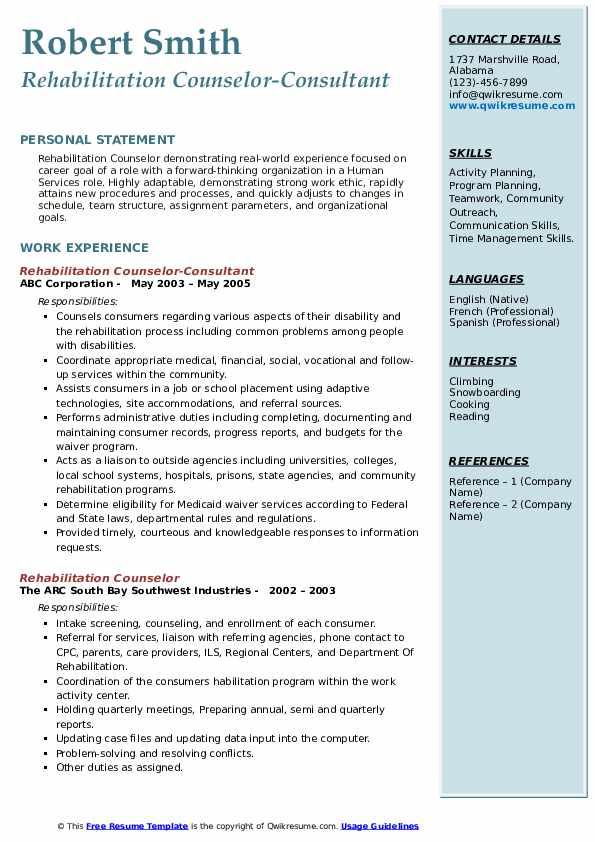 rehabilitation counselor resume samples