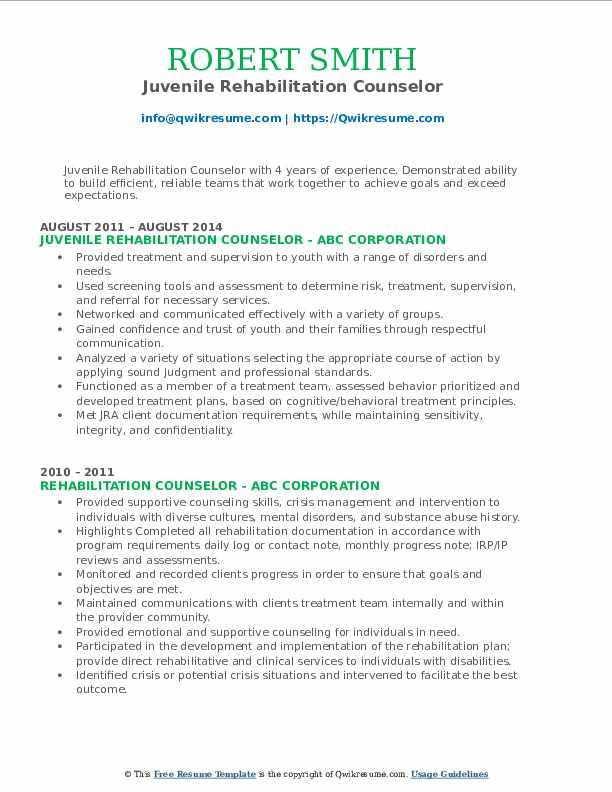 Juvenile Rehabilitation Counselor Resume Model