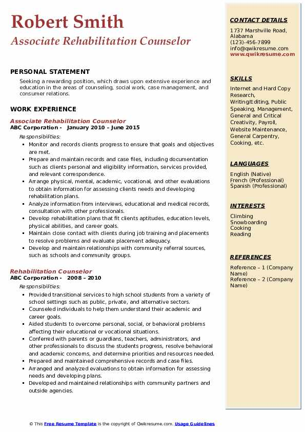 Associate Rehabilitation Counselor Resume Template