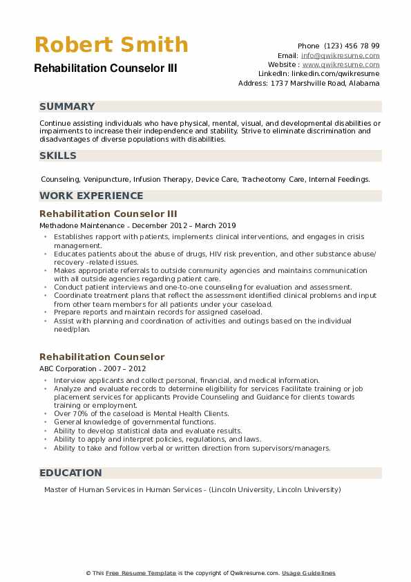 Rehabilitation Counselor III Resume Example